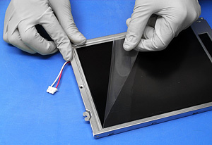 Preparing LCD display for optical enhancement