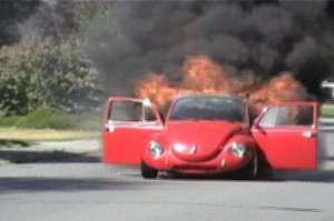 Burning VW Bug