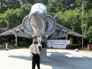 Brian by the Harrier at the Marine Corps Air Station Cherry Point