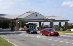 The front gate to the Marine Corps Air Station Cherry Point in Havelock, North Carolina