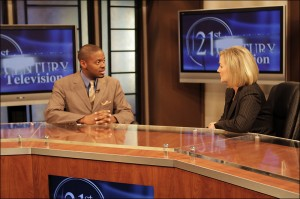Tenell Rhodes being interviewed by Jackie Bales on 21st Century Business