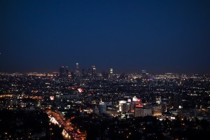 A nighttime view of Los Angeles from Mulholland Drive in the Hollywood Hills.