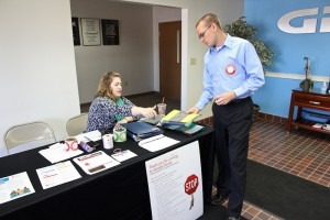 Lauren, from the American Red Cross, tends to desk duties at our blood drive