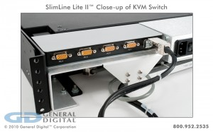 KVM switch mounted on the back of a SlimLine Lite II