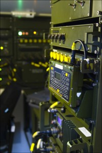 Army intelligence equipment in rack mount stations