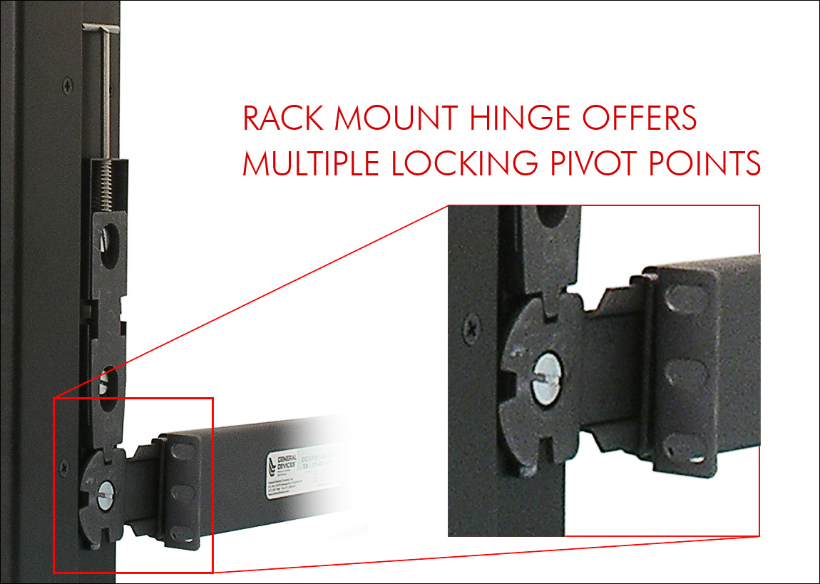 Rack Mount Hinge offers multiple locking pivot points.