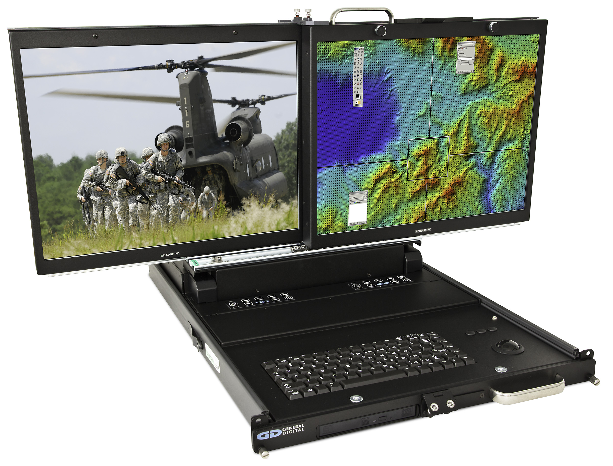 TwoView - rack mount dual 20-inch flip-up displays with keyboard