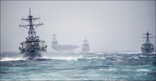 Navy ships in storm
