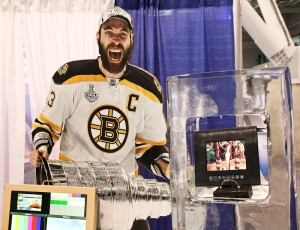 Zdeno Chara marvels at the Barracuda encased in a block of ice