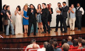 The stars talk to the audience after the premiere showing of The Last Intervention