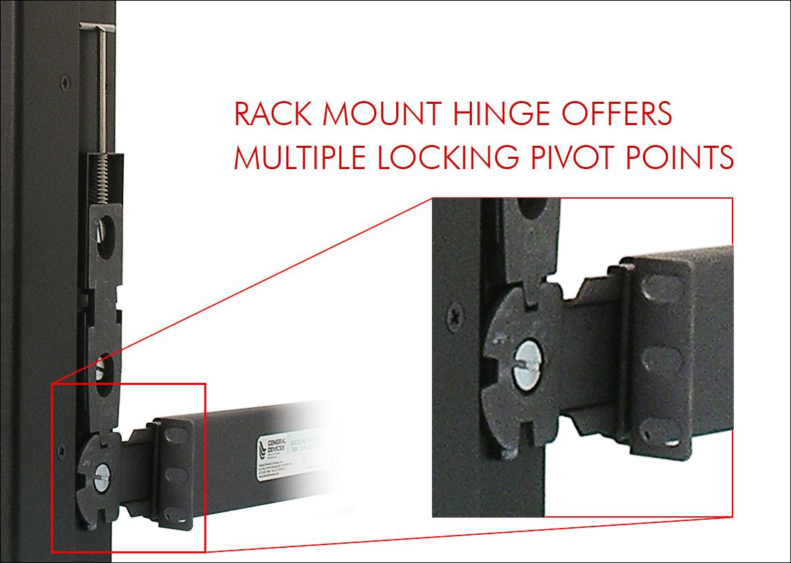 Rack Mount Hinge offers multiple locking pivot points.