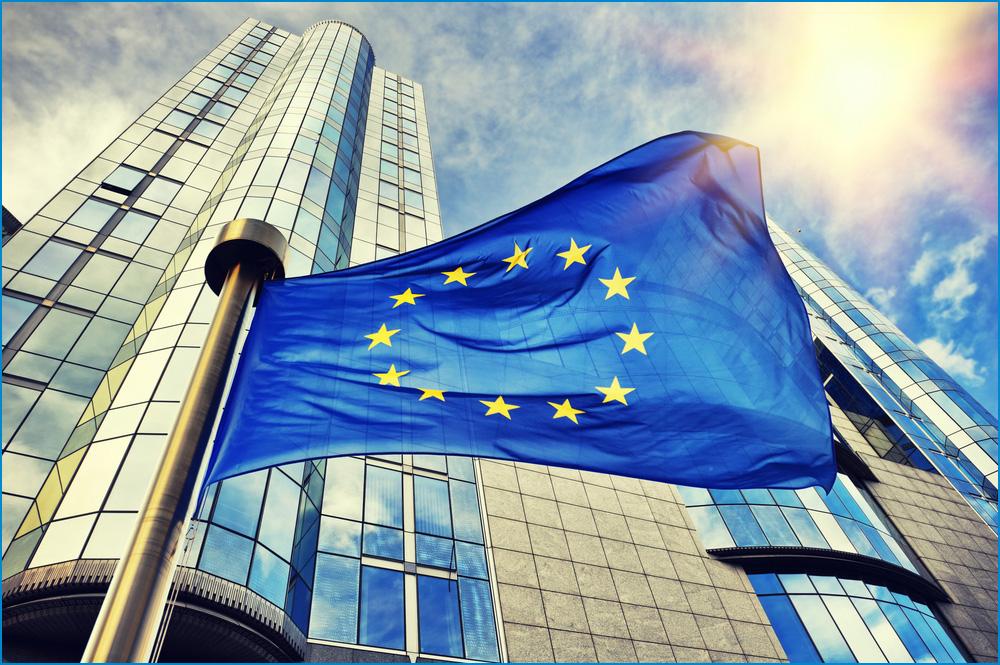 EU flag in front of European Parliament Building in Brussels, Belgium