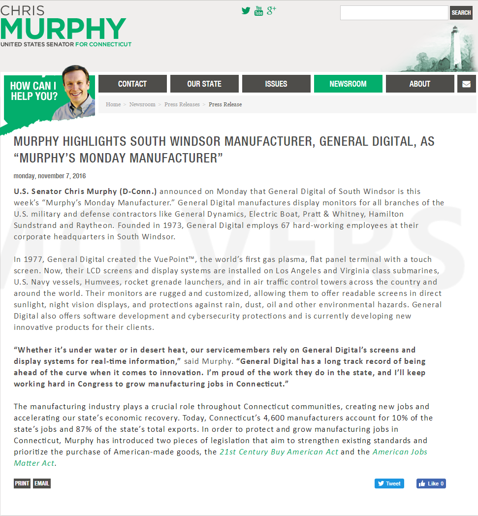 General Digital honored for being Murphy's Monday Manufacturer