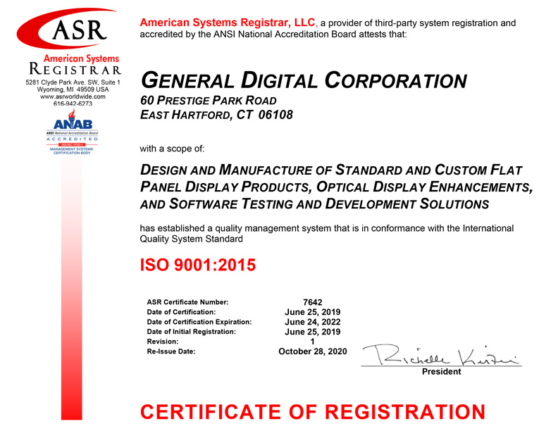 Graphic of GDC ISO certificate