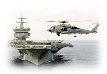 Navy ship and helicopter