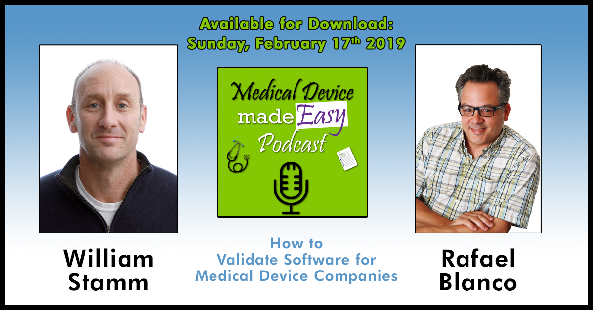 Graphic of details of upcoming medical device podcast