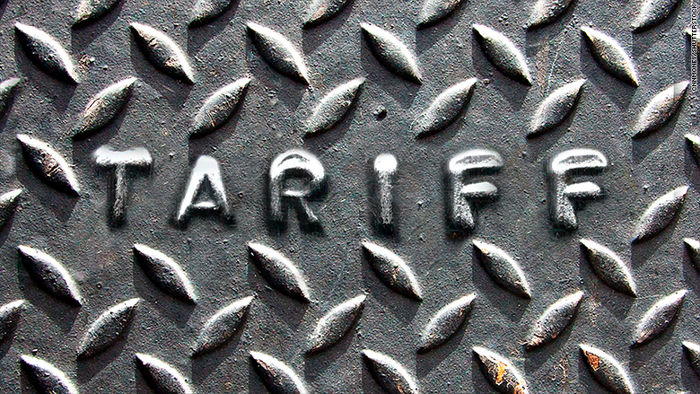 Graphic of steel diamond plate with TARIFF stamped into it