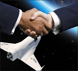 Men's hands shaking with space shuttle in background