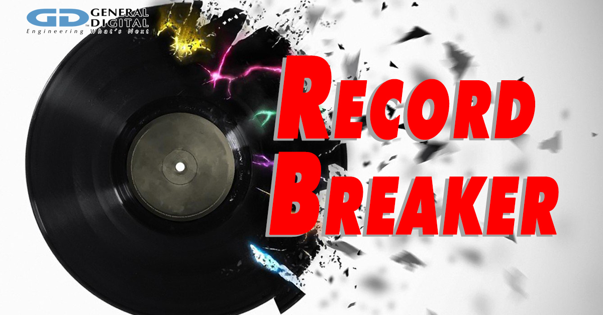 Broken vinyl record with words RECORD BREAKER