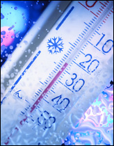 Thermometer reading below zero temperature