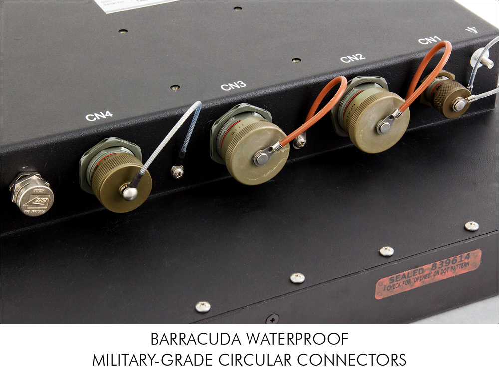 Close-up of military-grade Barracuda waterproof connectors