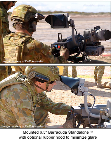 General Digital's 6.5 inch Barracuda monitor mounted on L40-2 grenade launcher with a soldier at the controls