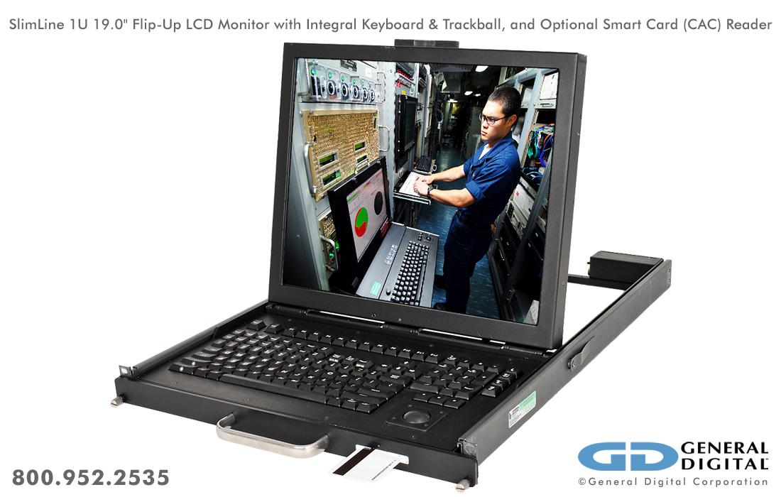 Slimline Rugged Flip Up Monitor Keyboard Rack Drawer