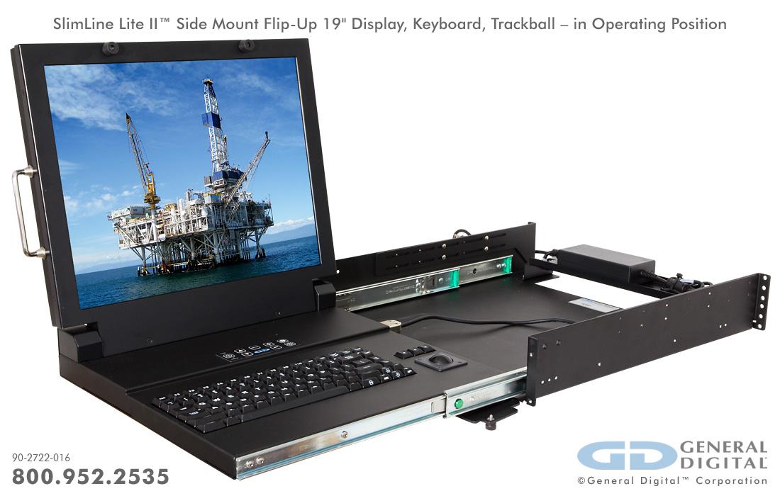 Slimline Rugged Flip Up Kvm Monitor Keyboard General