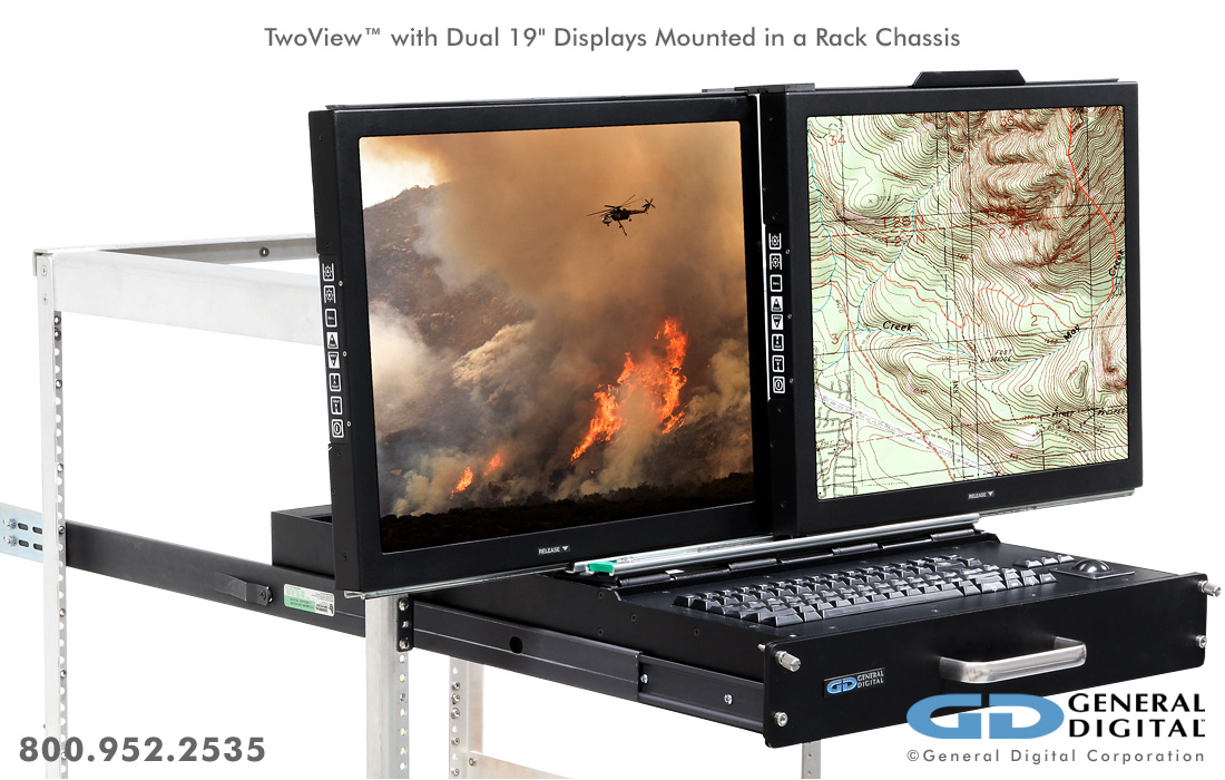 Twoview Military Dual Lcd Monitors Keyboard Rack Mount