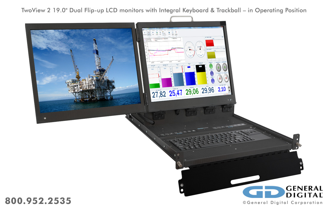 Twoview Military Dual Lcd Monitors Keyboard Rack Mount