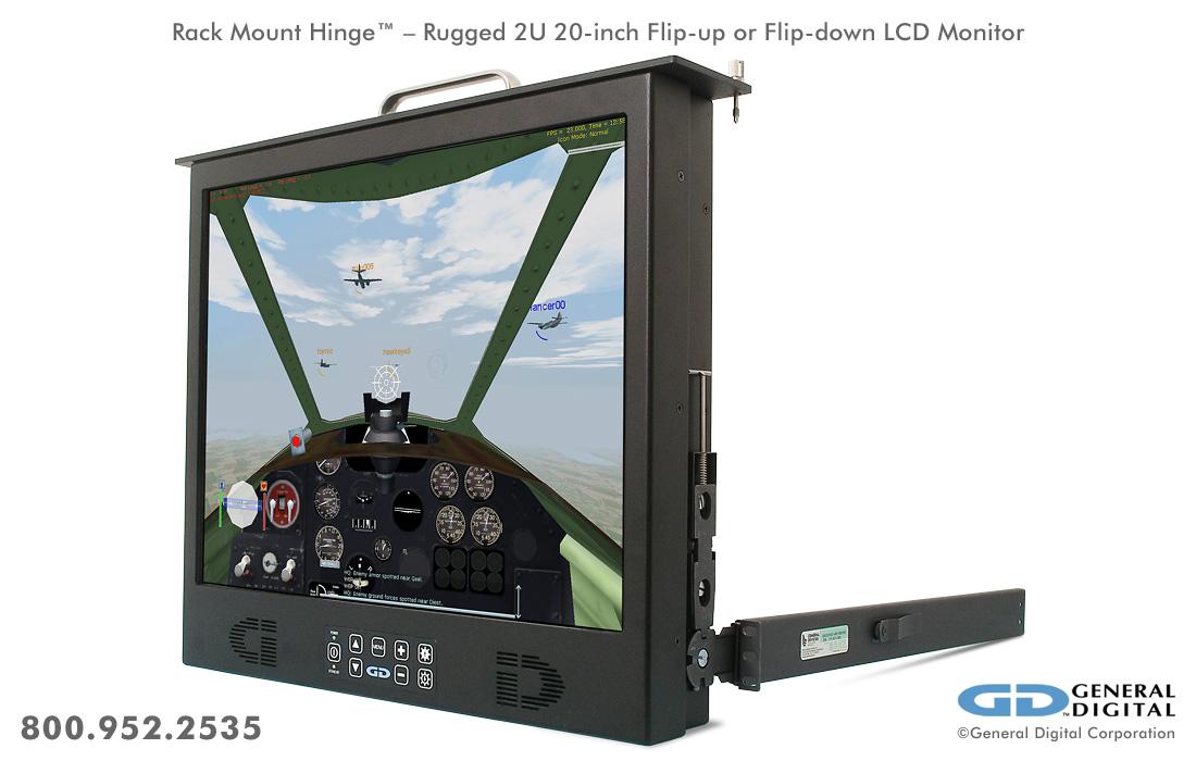 Rack Mount Hinge Rugged Flip Up Flip Down Monitor Deep