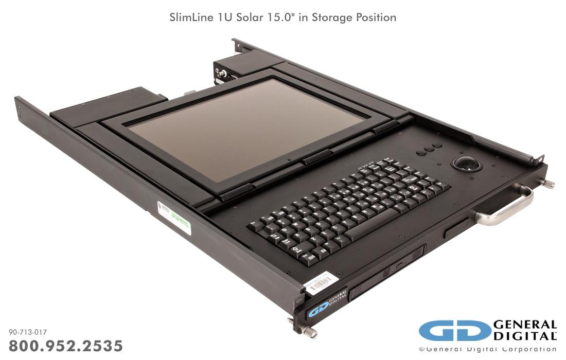 Slimline 1u Military Lcd Monitor Keyboard Rack Mount