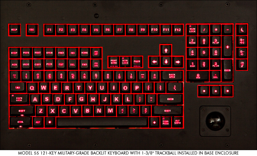 121-Key military-grade backlit keyboard with 1-3/8 inch trackball