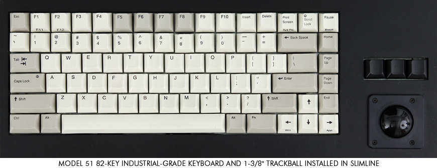 82-key industrial-grade keyboard with trackball
