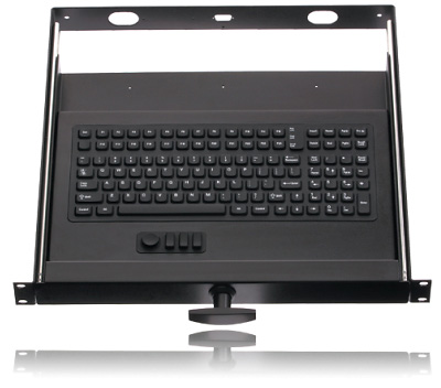 Industrial-grade Sealed 114-key Rack Mount Keyboard with Micro HulaPoint and Optional T-Handle