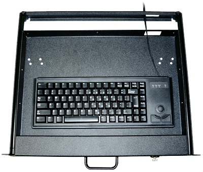 Commercial-grade 83-key Rack Mount Keyboard with Trackball