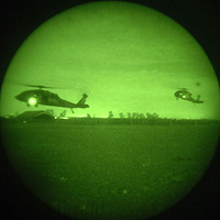 The view through night vision goggles