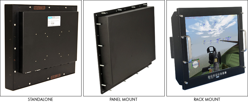 Barracuda sealed LCD mounting options - standalone, panel mount, rack mount