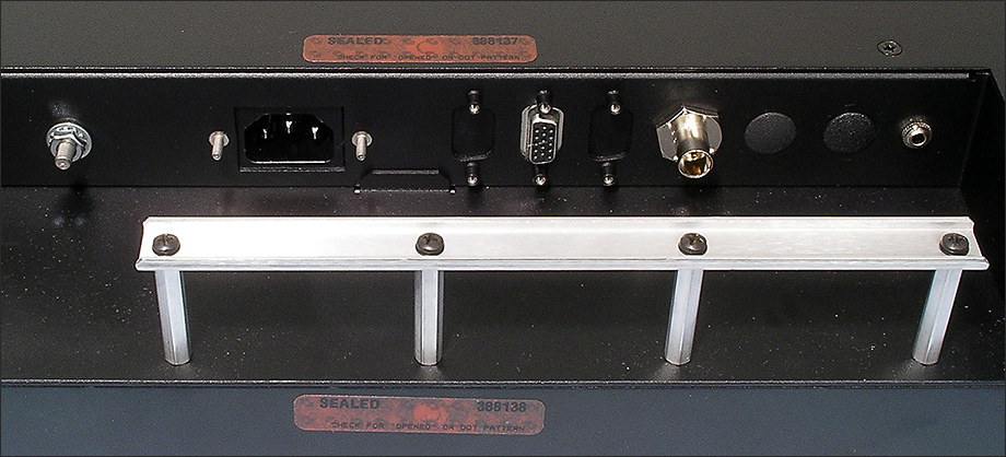 Close-up of rear connector panel on Rack Mount Hinge