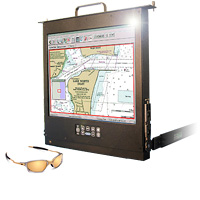 Rack Mount Hinge Solar Sunlight Readable Flip-up LCD Monitor with an LED Backlight