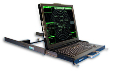 SlimLine 1U - Rack mount flip-up LCD monitor with integral keyboard and trackball