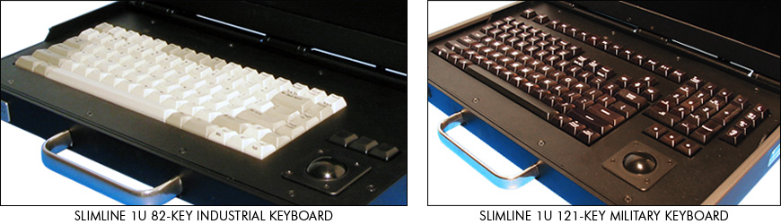 SlimLine 1U industrial-grade and military-grade keyboards