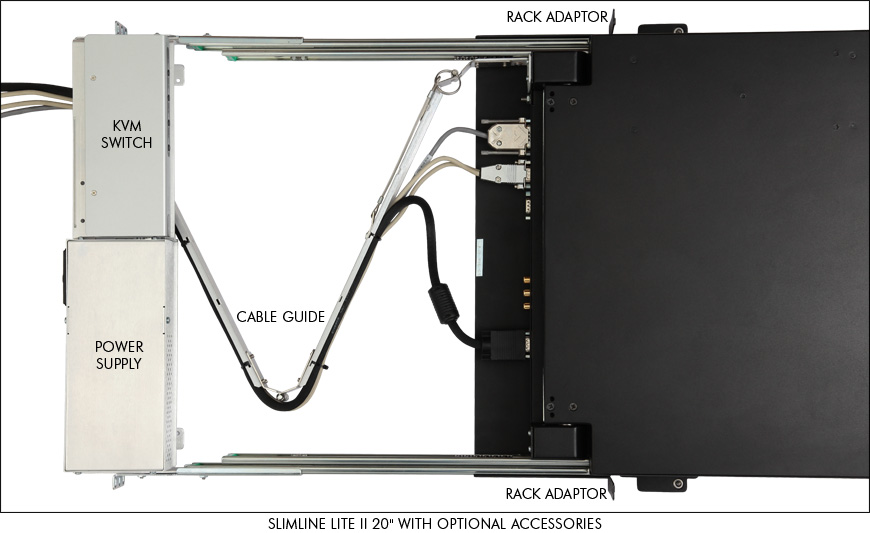 SlimLine Lite II Rack Adaptor and cable guide with optional accessories