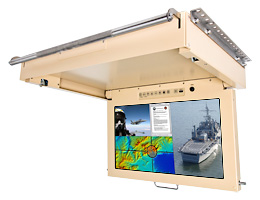 21.5 inch Touch Interactive Quad Input NVIS Daylight Readable Mil-Spec Flip-Down LCD Monitor
