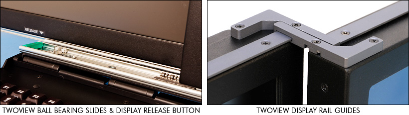 Photos of TwoView slides and display rail guides