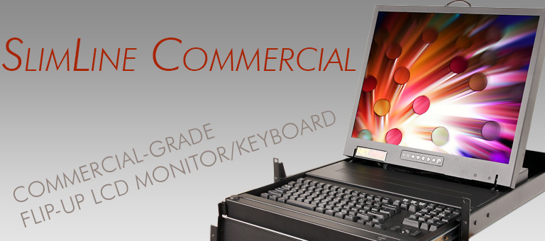 Slimline Commercial Light Industrial Flip Up Kvm Monitor