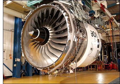 Photo of a Trent 900 engine nearing completion